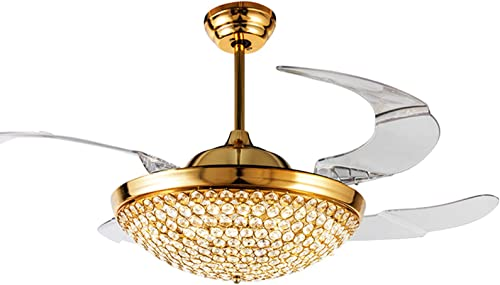 42″ Round Crystal Bowl Ceiling Fan Light 4 Invisible Retractable Blades 3 Color Dimmable Fan Chandelier