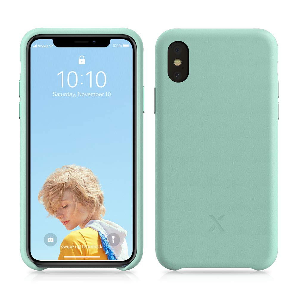 iPhone X Leather Case – Xcentz Genuine Leather Case for iPhone X, Slim American Leather Case for iPhone X, Individual Metal Buttons, Microfiber Lining, and Wireless Charging