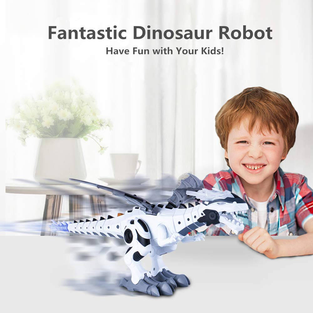 OceanEC Kids Electronic Dinosaur Robot Toy, Mechanical Walking Dinosaur Robot Toy with Flashing Lights Sounds Spray Movement for Boys Girls (Battery Power) by OceanEC (Image #7)