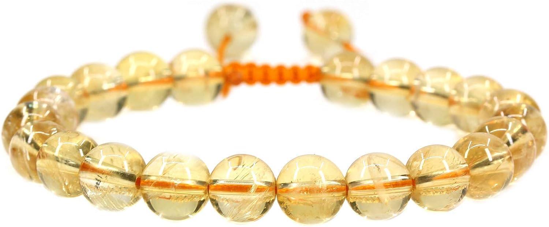 Pulsera natural de cuarzo citrino borlas Macrame la pulsera ajustable | 7.5? Longitud de la pulsera Chakra Reiki con cable de piedras preciosas | Trenzada pulsera unisex | 12mm granos redondos