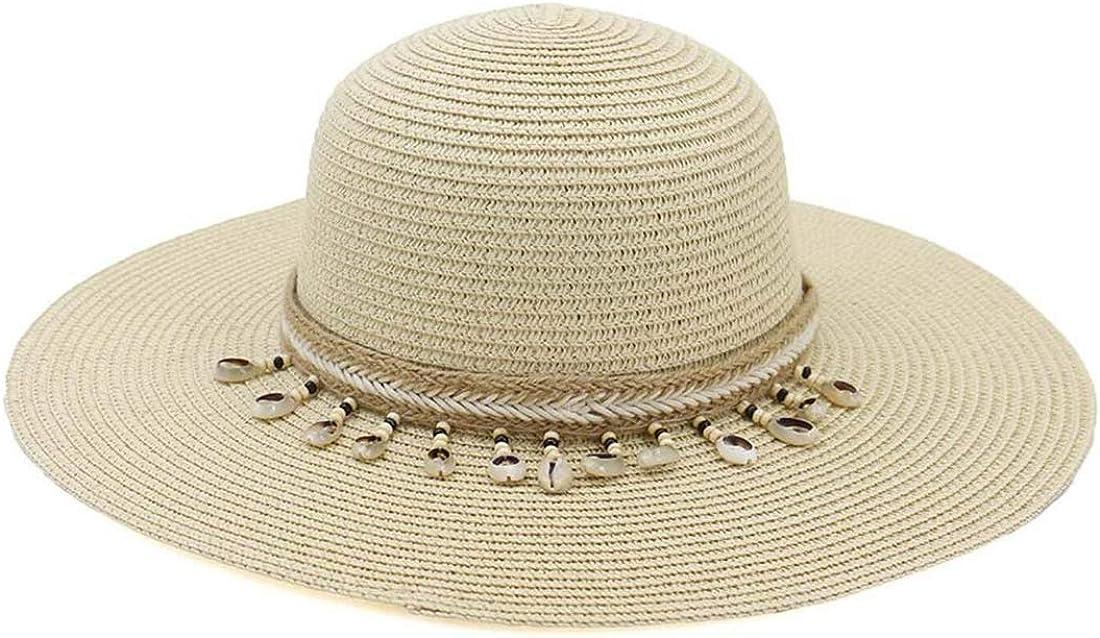 Charmylo Femmes Panama Chapeaux de Paille Chapeau de Soleil Chapeau de Plage avec Ruban de Coquille et Jugulaire UPF50 R/églable et Compressible Large Large Brim Ladies Summer Fedora Trilby Hat