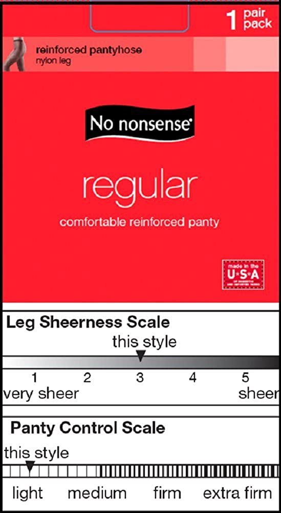No Nonsense Womens Regular Pantyhose with Reinforced Panty and Toe