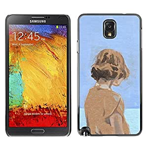 Ihec Tech Acuarela Azul Naranja Chica profundo Sad / Funda Case back Cover guard / for Samsung Note 3 N9000
