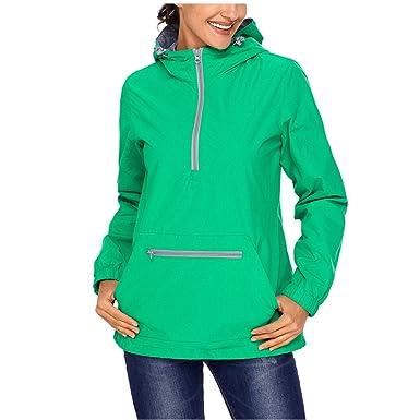 SEBOWEL Women s Raincoat Active Outdoor Waterproof Rain Jacket Hooded  Windbreaker Green S c7704fcf3