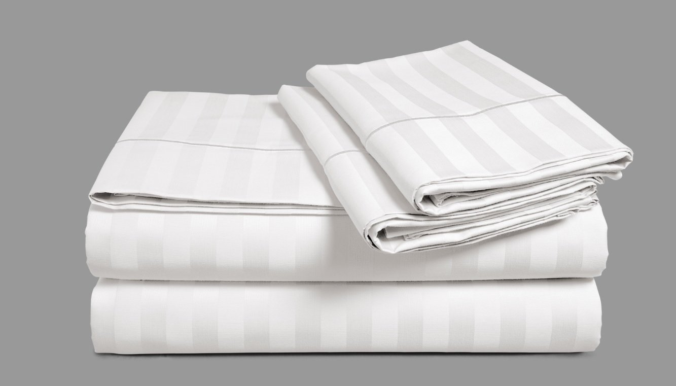 Chateau Home Hotel Collection - Luxury 500 Thread Count 100% Egyptian Cotton Damask Stripe Deep Pocket Super Soft Sateen Weave Sheet Set, Mega Sale Lowest Prices (Queen, White)
