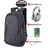 Laptop Backpack, College Backpacks with USB Charging Port Fits Under 17-Inch Laptop and Notebook (4-Black)