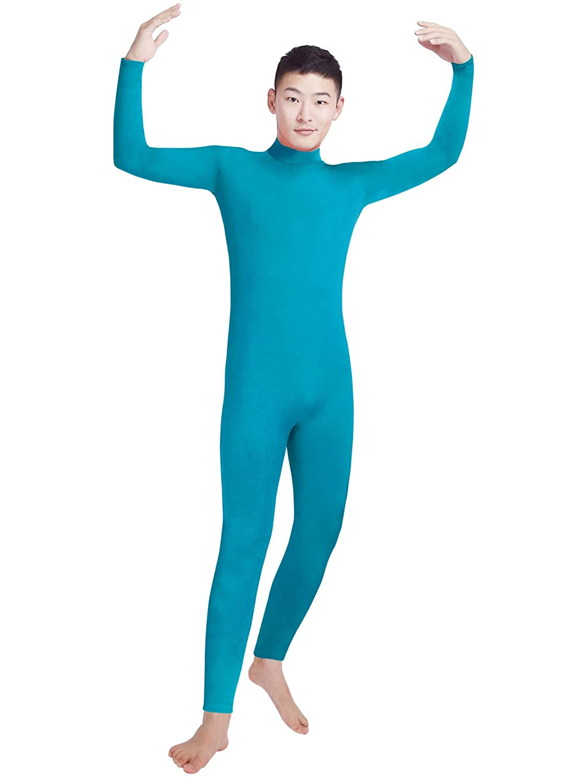 Shinningstar Boys Mens Zentai Unitard Spandex Lycra Turtleneck Long Sleeve Dancewear Bodysuit