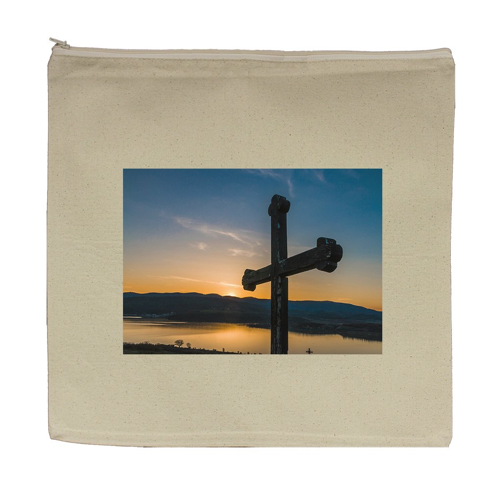 Canvas Zipper Pouch Tote 5.5''X7.5'' Christian Cross Against Sunset Style In Print by Style in Print