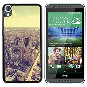 Smartphone duro PC Carcasa Funda protectora para HTC Desire 820/Phone Case TECELL Store/Skyline Vignette Sepia Architecture City