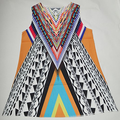 Mangas Vendimia de Redondo las Impresión Mujeres del Sin Honghu Multicolor18 de la de Vestido Cuello la Verano qITtRvw
