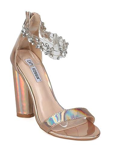 8c7f1b58362f3 Alrisco Women Holographic Rhinestone Ankle Strap Chunky Heel Sandal HH77 - Rose  Gold Metallic (Size