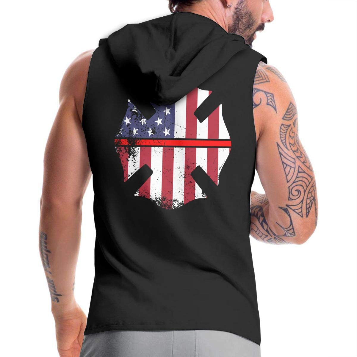 Ice-Long Out X American Firefighter Mens Fashion Sleeveless Zip-up Hoodie Black with Pocket