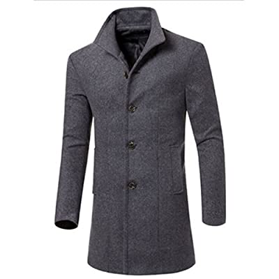 Blackzone Men's Jacket Outwear Fashion Slim Fit Long Trench Coat Windbreaker Lapel Button Jacket Outwear