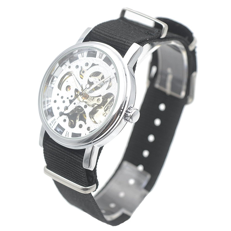 エレガントなシルバートーンケース新しいメンズ腕時計ブラックキャンバスバンドWind Up Mechanical Wrist Watch Niceギフト B06XG8JH64
