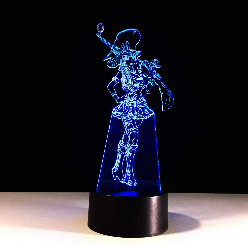 BFMBCHDJ Lovely Cowboy Girl 3D Night Light Acrílico 7 colores ...