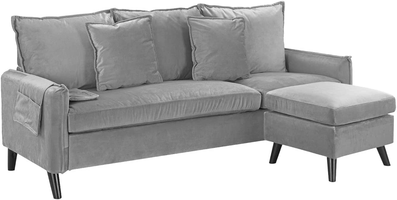 Casa AndreaMilano Classic Living Room Velvet Sectional Sofa, L-Shape Couch with Pocket Organizer, Silver