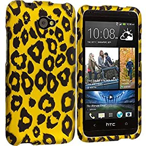 Accessory Planet(TM) Black Leopard on Golden 2D Hard Snap-On Design Rubberized Case Cover Accessory for HTC Desire 601 Zara