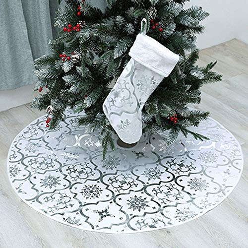 wlflash Christmas Tree Skirt 48 inches Snowy Pattern Xmas Tree Skirt for Christmas Tree Decorations Indoor Outdoor (White) from wlflash