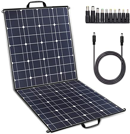 TWELSEAVAN 100W Solar Panel Foldable Portable Solar Charger for Jackery Explorer 160/240/500 Power Station/Suaoki/Goal Zero Yeti/Rockpals/Kyng Power ...