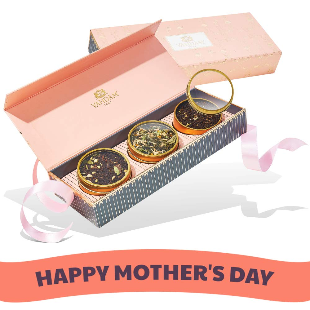 VAHDAM, Assorted Tea Gift Set - BLUSH - Mothers Day Gifts - 3 Exotic Teas in a Presentation Tea Sampler Gift Box | Best Mothers Day Gift Ideas & Gifts for Women