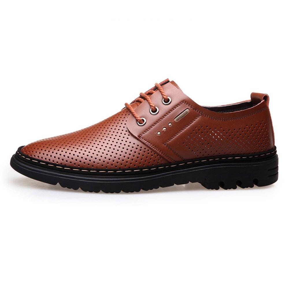 Zapatos De Cuero Cuero Cuero Ocasionales del Verano De Los Hombres Zapatos Huecos Respirables del Zapato Hueco para El Vestido del Negocio Boda,Marrón-44 90e909