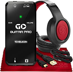 "TC-Helicon GO GUITAR PRO Portable Guitar Interface for Mobile Devices + SR360 Over-Ear Dynamic Stereo Headphones, Xpix 1/4"" TRS Cables (x2) & Fibertique Microfiber Cleaning Cloth"