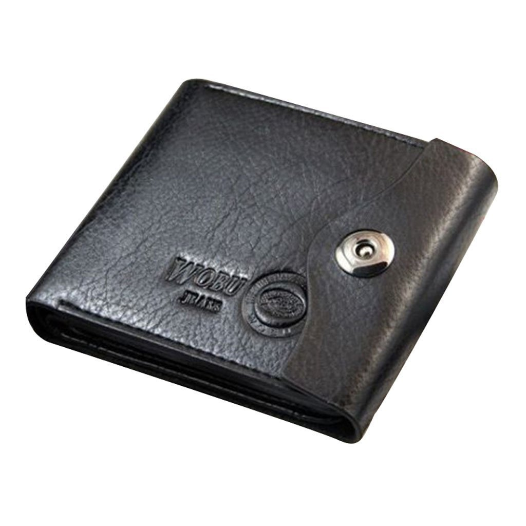 Mens PU Leather Bifold Wallet Id Cards Holder Coin Pocket Bag Button Slim Purse New - Black, One size