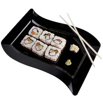 Pack de 10 – Elegante plato de plástico duro ondulado rectangular para servir/bandejas/