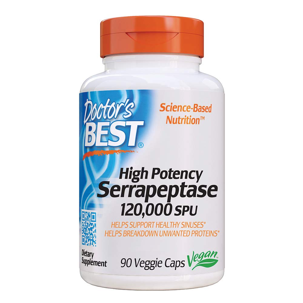 Doctor's Best High Potency Serrapeptase, Non-GMO, Gluten Free, Vegan, Supports Healthy Sinuses, 120,000 SPU, 90 Veggie Caps by Doctor's Best