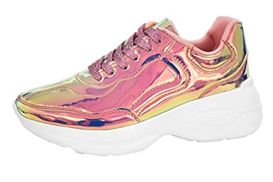 ae72952dff3d Image Unavailable. Image not available for. Color  LUCKY-STEP Women  Metallic Running Shoes ...