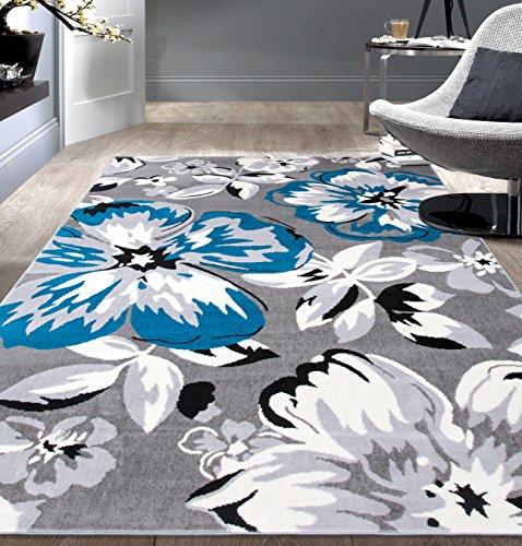 """Rugshop Modern Floral Area Rug, 3'1"""" x 5', Blue"""