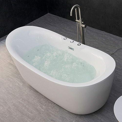 WOODBRIDGE B-0034 BTS1611 71 x 31.5 Whirlpool Water Jetted and Air Bubble Freestanding Bathtub, B-0034 BTS1611, Whirlpool Air Tub, 71