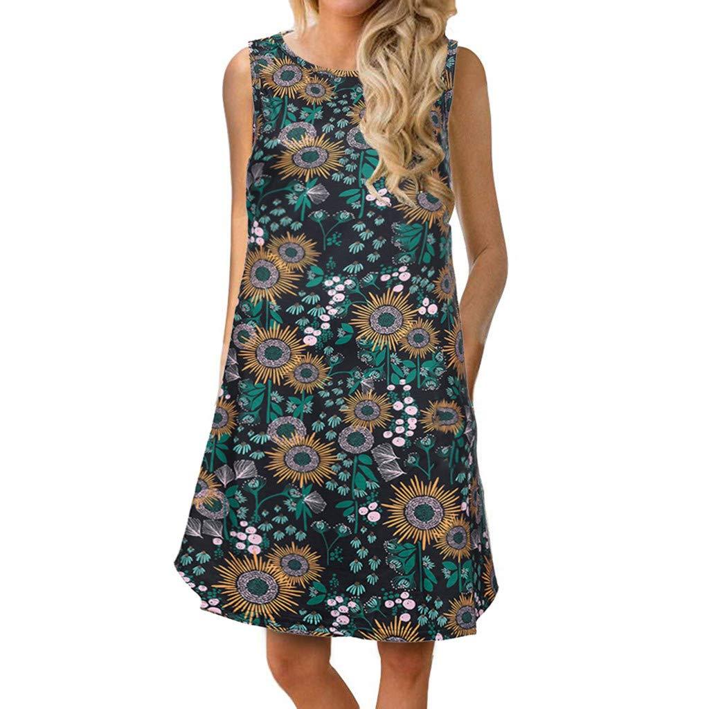 Women's Sleeveless Print Pocket Dress,Mlide Summer Floral Printed Sundress Casual Swing Dress Long Top Shirt,Blue S