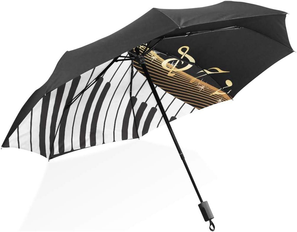 Womens Umbrellas Black Musical Instrument Notes Illustration Portable Compact Folding Umbrella Anti Uv Protection Windproof Outdoor Travel Women Umbrella Windproof Men