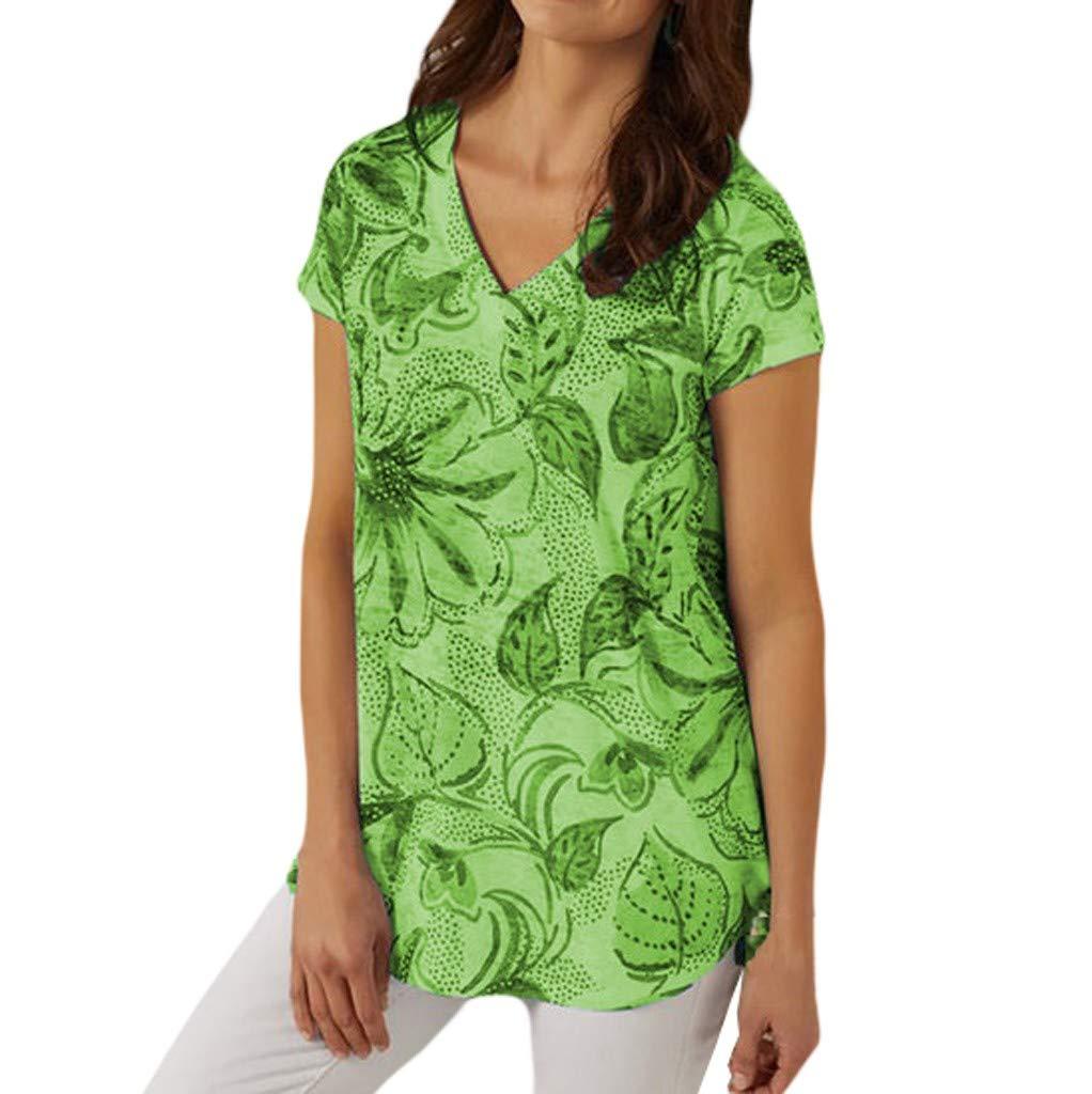 Tantisy ♣↭♣ Women's Basic V Neck Short Sleeve T Shirts Summer Casual Tops Ladies Plus Size Print Blouse Green