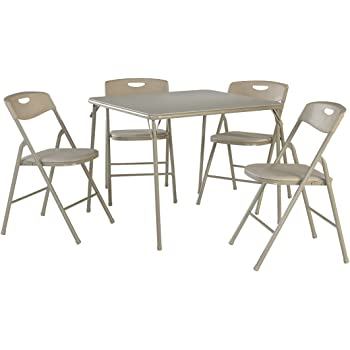 cosco 5 piece folding table and chair set antique linen kitchen dining. Black Bedroom Furniture Sets. Home Design Ideas