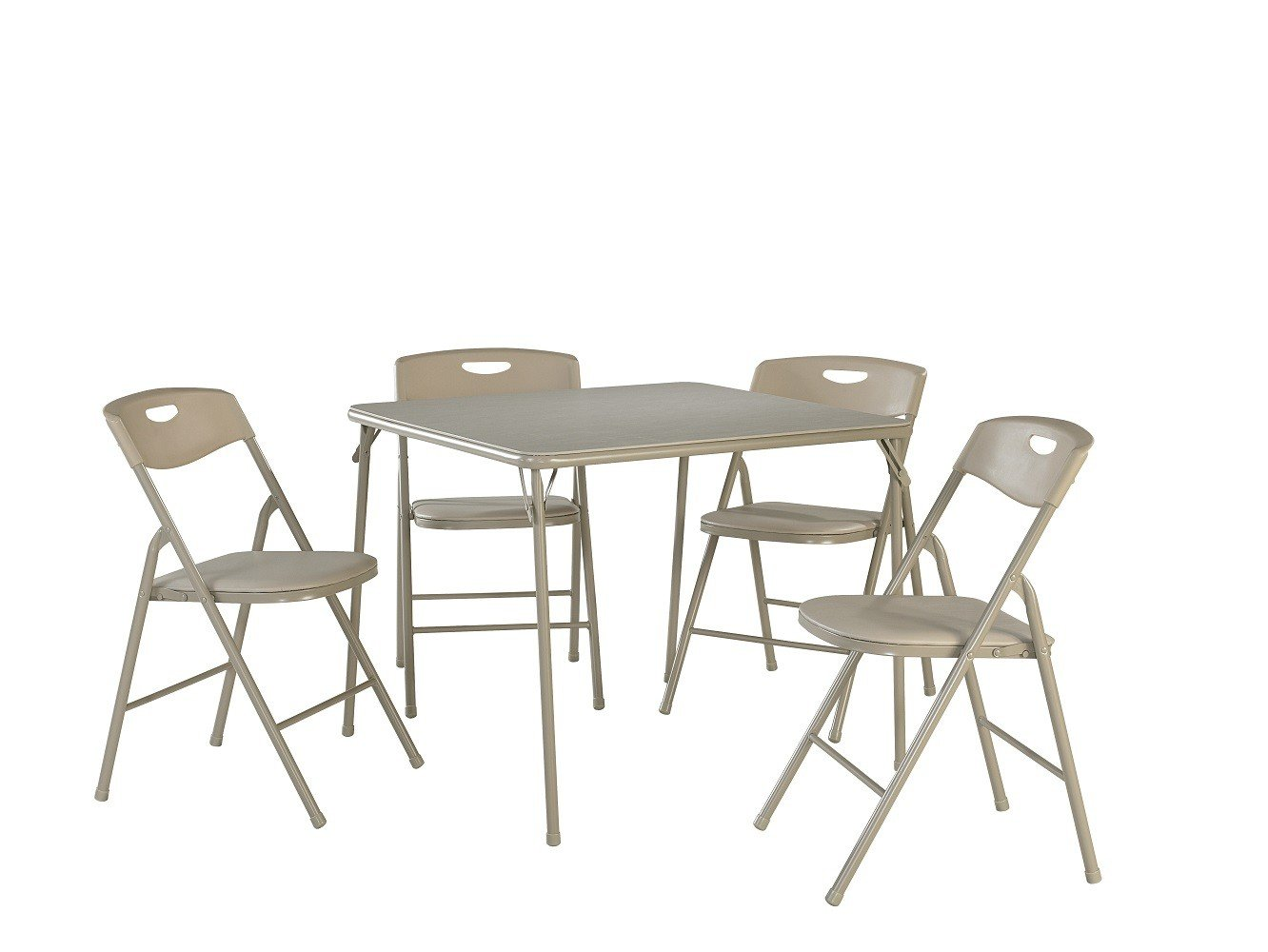 Cosco 37557ANTE 5-Piece Folding Table and Chair Set, Antique Linen by Cosco