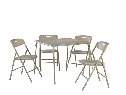 Cosco 5-Piece Folding Table and Chair Set Antique Linen  sc 1 st  Amazon.com & Amazon.com: Cosco 5-Piece Folding Table and Chair Set Antique Linen ...