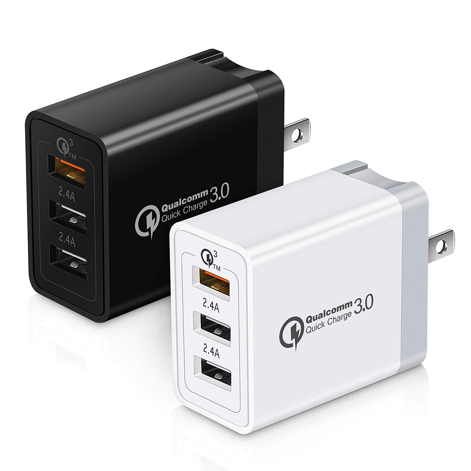 Canjoy 2 Pack 3 Ports USB Wall Charger Fast Charging Block Wall Adapter USB Charger with Fordable Plug Compatible with iPhone XS//Max//XR//X//8//7//6s//Plus Quick Charge 3.0 Wall Charger Samsung Galaxy S10 S10E S9 S8 Plus,7.5W//10W Wireless Charger iPad Pro//Air