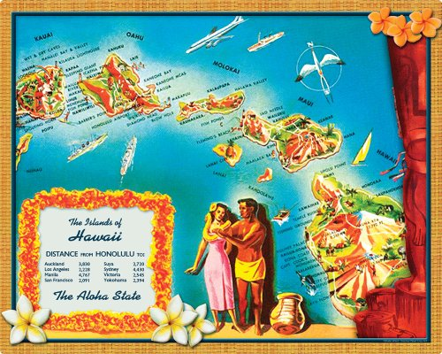 Magic Slice Non-Slip Flexible Cutting Board, Gourmet Size 12-Inch by 15-Inch,  Islands of Hawaii by Kate Ward -