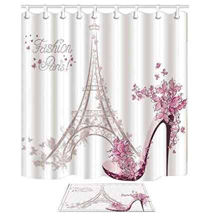 e0f3ffa64f71c KOTOM Fashion Girl Decor, Paris Eiffel Tower with High Heels 69X70in Mildew  Resistant Polyester Fabric Shower Curtain Suit With 15.7x23.6in Flannel ...