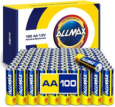 Allmax AA Maximum Power Alkaline Batteries (100 Count Bulk Pack) – Ultra Long-Lasting Double A Battery, 10-Year Shelf Life, Leak-Proof, Device Compatible – Powered by way of EnergyCircle Technology (1.5V)