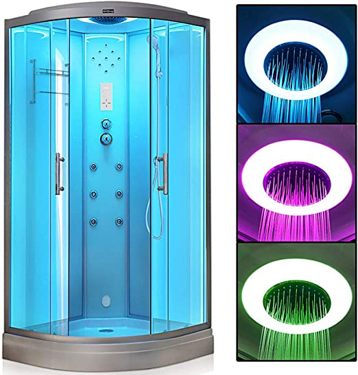 VIRPOL - Cubículo de ducha de vapor con generador de 3 kW con 6 jarras de masaje corporal, color blanco: Amazon.es: Bricolaje y herramientas