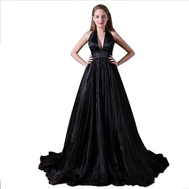 Loveinwedding Womens Black Prom Dresses Deep V Neck Formal Evening Gowns