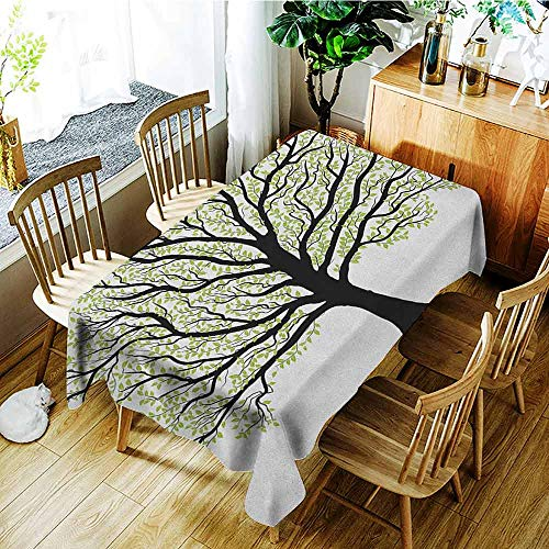 XXANS Spill-Proof Table Cover,Tree of Life,Big Old Lush Tree with Lot of Leaves and Branches Nature Growth Eco Art,Dinner Picnic Table Cloth Home Decoration,W54x72L Black White Green