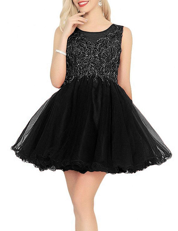 Black Yiweir Women's Short ALine Homecoming Dresses 2018 Tulle Beaded Formal Prom Gown H013