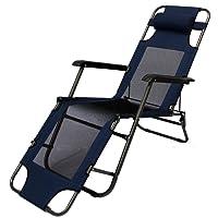 3804cce2119591 AMANKA Chaise Longue Pliable pour Camping et Jardin Transat Inclinables avec  Repose-tête Couleur Bleu