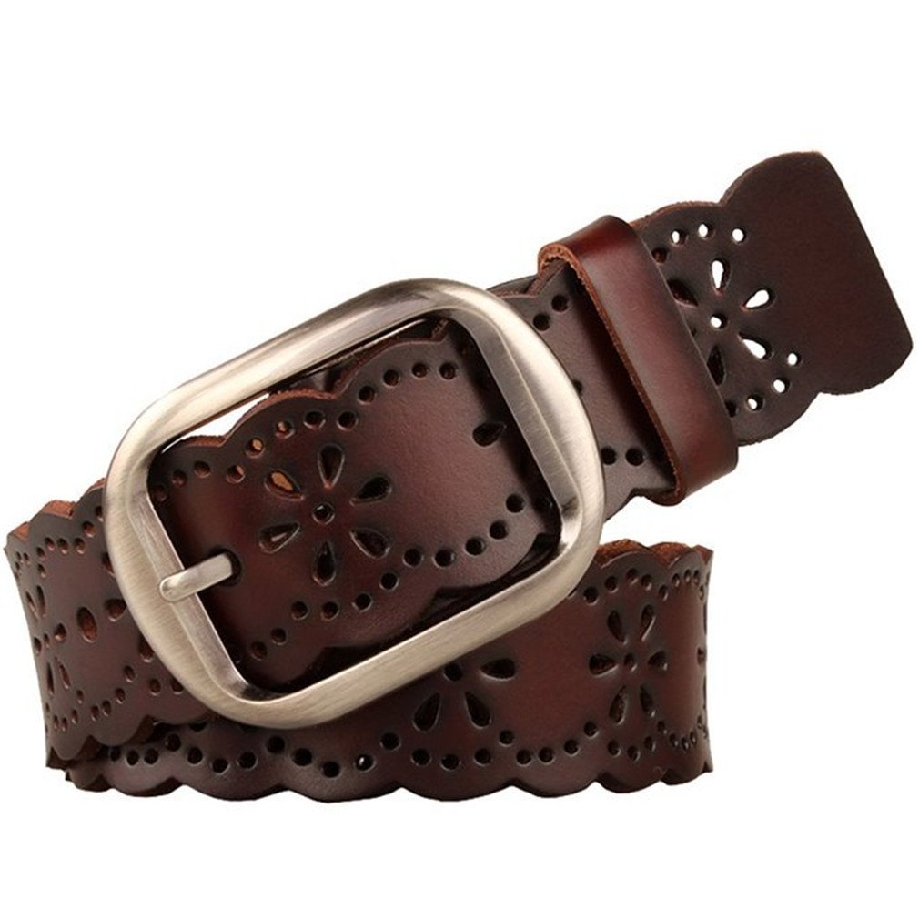 JASGOOD Women's Hollow Flower Genuine Cowhide Leather Belt With Alloy Buckle needs dark brown and a size Waist Size 26-30 Inch by JASGOOD