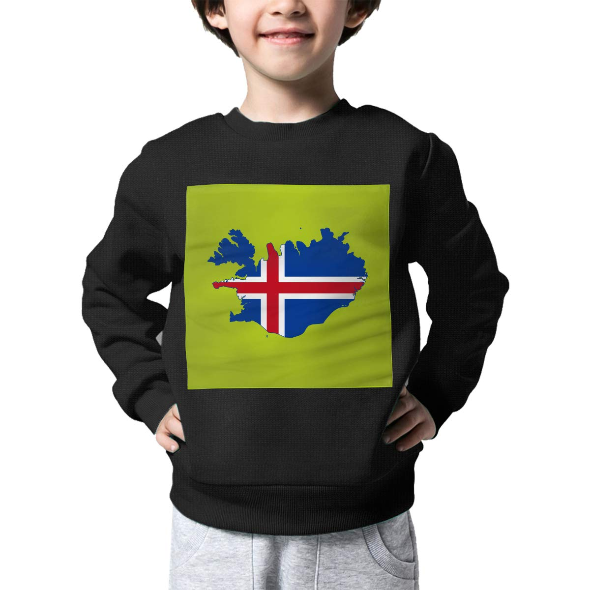AW-KOCP Childrens Flag of Iceland Map Sweater Baby Girls Printed Sweater