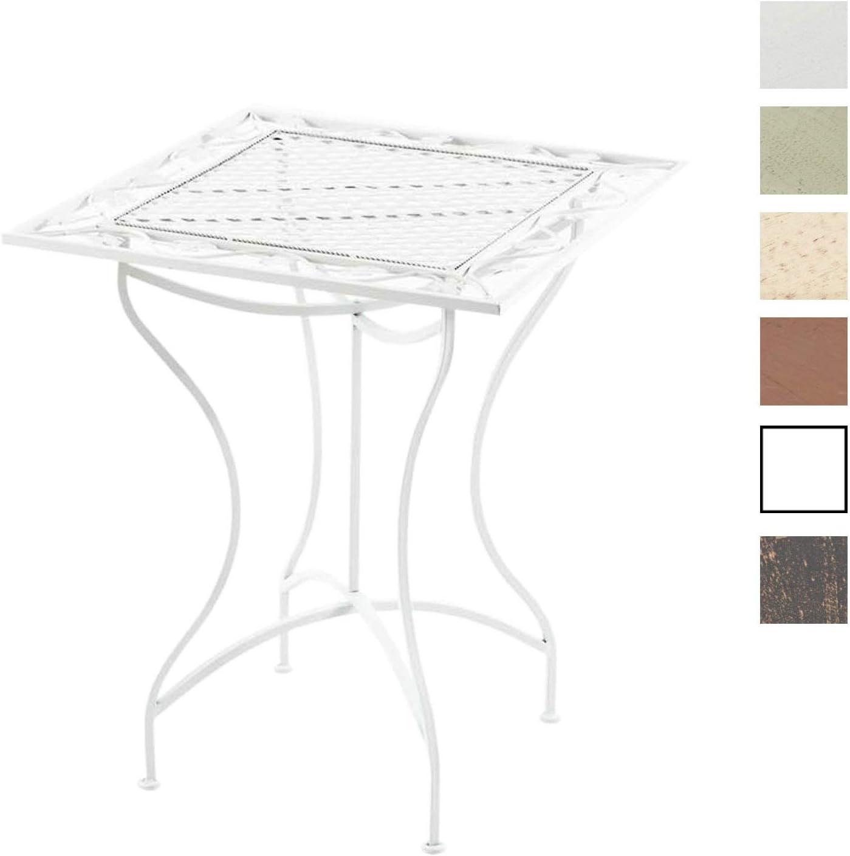 CLP Mesa de Jardín Asina en Hierro Forjado I Mesa Cuadrada con Altura de 72 cm I Mesa en Estilo Rústico I Color: Blanco